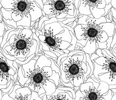 White Anemones by patty sloniger. Hand drawn graphic anemones print, pure black and white. Hand drawn graphic anemones print, pure black and white. Pattern Floral, Motif Floral, Pattern Fabric, Pattern Print, Fabric Design, Paper Scrapbook, White Anemone, White Flowers, Poppy Flowers