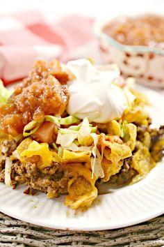 Walking Taco Casserole Taco Casserole, Casserole Dishes, Casserole Recipes, Skillet Recipes, Mexican Dishes, Mexican Food Recipes, Dinner Recipes, Rib Recipes, Yummy Recipes