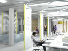 Offices office spaces and lighting on pinterest Coworking space design ideas