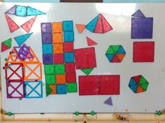 creating designs with magformers magna tiles and bingo chips on the