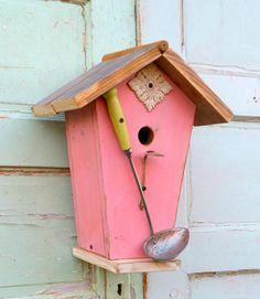 Vintage spoon birdhouse  cottage birdhou