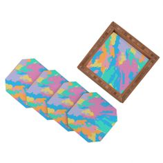 Rosie Brown Art Map Coaster Set | DENY Designs Home Accessories   #coasters #art #beverage #bar #kitchen #denydesigns #homedecor