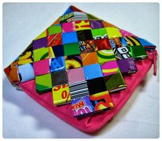 #patrirocks #candywrapper #coinpurse #diy #handmade #pink #multicolor #neon #colorful