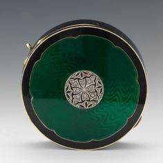 Tiffany & Co. Art Deco Gold Guilloche Enameled Compact