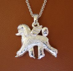 Large Sterling Silver Poodle Angel Pendant by BestK9buds on Etsy