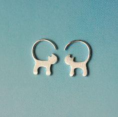 925 en argent Sterling mignon à longue queue Cat boucles d'oreilles pour les femmes fille belle Kitty boucles d'oreilles mode Sterling - argent - bijoux A54