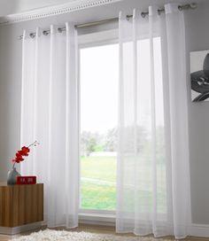 Cortinas transparentes con ollaos /Voile Ring Top Panels - White