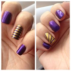 LSU nail art - tape manicure. Blog post coming soon.