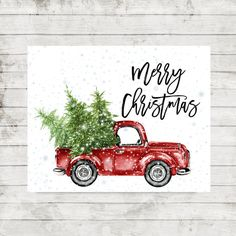 Merry Christmas printable Christmas Retro Car With Trees Snowflakes print Christmas home decor Christmas red truck Christmas party decor #ad #affilink