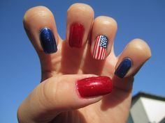Sparkly red, blue and the American flag!