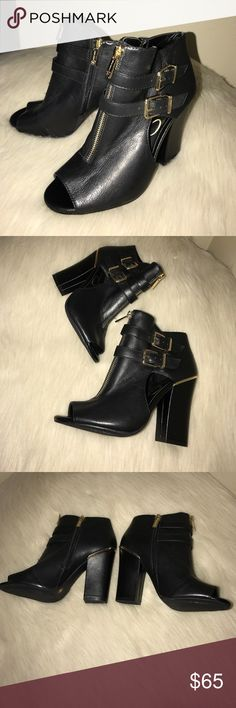 Weekend Sale! Jessica Simpson Heels. Practically new. Size 6. Black & the zippers are gold. Jessica Simpson Shoes
