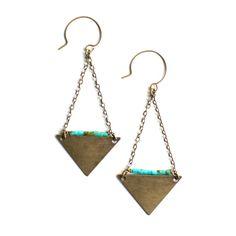 Image of Triangle & Turquoise Heishi Earrings