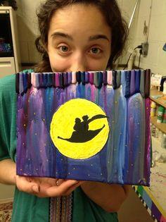 My bestie's crayon melt art! Disney Aladdin!!