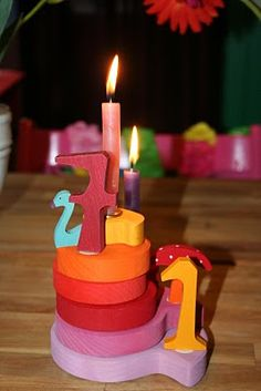 Wooden birthday  tower instead of ring. Love it!