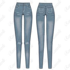 Women's Light Wash Jeans Fashion Flat Template