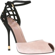 Gucci Beige Peep Toe Pumps Nude leather pump from gucci featuring a peep toe, a black buckle fastening ankle strap, black lattice detail and a black stiletto heel. Read more: http://www.lyst.com/shoes/gucci-peep-toe-pumps-nude/#ixzz2TotHqglD