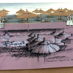 Sunshades at Sougia beach, Crete (white pen + black feltpen)