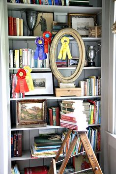 House updates--The Study | Holly Mathis Interiors. Styling shelves. I love the layers, here.