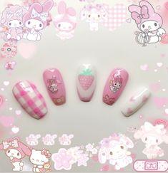 Cute Pink Nails, Really Cute Nails, Soft Nails, Cute Nail Art, Pretty Nails, Acrylic Nail Shapes, Best Acrylic Nails, Acrylic Nail Designs, Girls Nail Designs