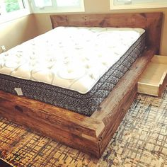 Beautiful Rustic Barn Wood Beam Bed. Made from 150 year old locally reclaimed wood from Southern Ontario Barns. The wood has wonderful character and shape, from decades of wear. Headboards are made from 1 barn board and bed frames are made from 4 thick by 8 wide beams. All beds are