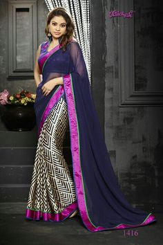 ♥ Taka ♥ Saree Code ♥ Material - Amazing embellished italian satin crepe ♥ Blouse - Unstitched & included ♥ ♥ Embroidered - A touch of embroidered border Traditional Sarees, Traditional Looks, Traditional Outfits, Designer Sarees Collection, Saree Collection, Ethnic Fashion, Asian Fashion, Modern Fashion, Trendy Fashion