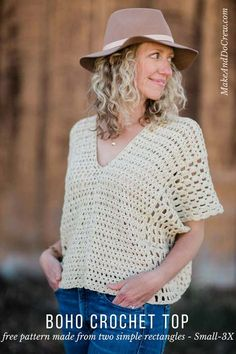 Made from two simple rectangles, this poncho-style summer crochet top will give your outfits a boho vibe all season. Free crochet pattern using the Iris Stitch and the Boxed Shell Stitch, featuring Lion Brand Yarn LB Collection Cotton Bamboo.