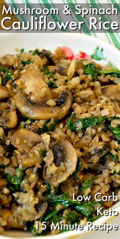 Low Carb + Keto Pilz & Spinat Blumenkohl Reis - Pins From Stylish Cravings - Gemuse Rezepte Vegetarian Side Dishes, Keto Side Dishes, Vegetable Dishes, Vegetable Recipes, Spinach Recipes Vegetarian, Veggie Recipes Sides, Vegetarian Keto, Keto Mushrooms, Spinach Stuffed Mushrooms