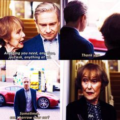 """""""Anything you need, any time, just ask, anything at all"""" - Mrs. Hudson and John #Sherlock ((Bahaha anything except my amazing car! Mrs. Hudson is gold))"""