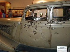 Bonnie and Clyde Actual Car used in Bank Robberies.  Located in Texas Rangers Museum in Waco, TX. <3