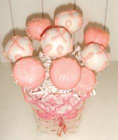Cake pops - too cute! #support #breastcancerawareness #pink SwimSpot.com