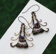 Reserved for Melissa - Far Eastern Promise Metal Bead Rustic Artisan Earrings