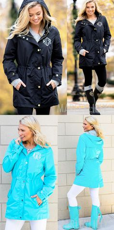 A Monogrammed Rain Jacket from Marleylilly will brighten your rainy days with lightweight protection and a fashion-forward look. Our long, water resistant rain jacket gets personal with your initials embroidered in your choice of dozens of colors.