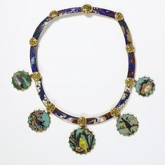 Stalking the Belle Époque: Masterpiece of the Day: The Falize Cloisonné Necklace, 1867. Enamel Necklace In the Japanese Style Alexis Falize France, 1867 The Victoria & Albert Museum. [It has images of birds and flowers that are taken from Japanese prints, but the brighter colors are more Chinese-style.]  Front is shown.