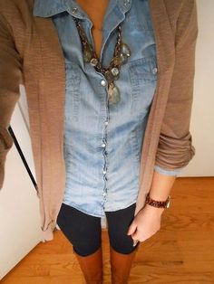I don't normally like denim shirts but it looks cute with this cardigan and dark pants. LOVE this look! -
