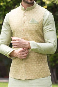 Green Kurta Jacket Set with Light Work - Ethnic Men's Kurta for Every Occasion by Manyavar.com