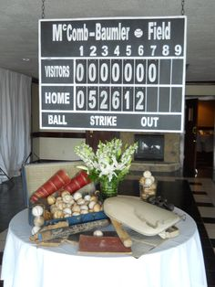 My dad made a score board for our wedding as a surprise! The home team score is actually the date of our wedding!