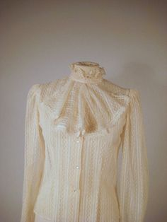 vintage 70's victorian lace blouse with ruffled by ingeniousrehab