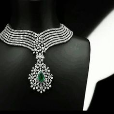@thejewellcloset Stunning  Diamond & Emerald necklace .