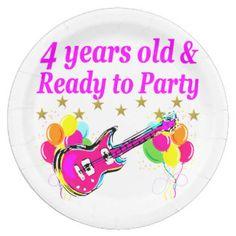 4 YEAR OLD ROCK STAR BIRTHDAY PARTY PAPER PLATE http://www.zazzle.com/jlpbirthday/gifts?cg=196495808120121362&rf=238246180177746410 #4yearsold #Happy4thbirthday #4thbirthdaygift #Turning4