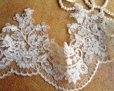 Anmutige Elfenbein Alencon Lace Trim bestickt Retro Tüll Spitze Hochzeit Schleier Braut Lace Trim