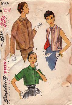 1950s Jacket & Vest Pattern Simplicity 1054 Size 12