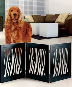 Take a look at this Black Zebra Wooden Pet Gate by Etna Products on #zulily today!