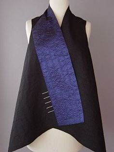 Draped Collar Vest Blue and Black  Juanita Girardin: