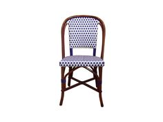 HK-81 WEAVE: DAMIER COLORS: WHITE & BLUE WOOD FINISH: DARK HONEY Black Velvet Chair, French Bistro Chairs, Adirondack Chair Cushions, French Cafe, Blue Wood, Handmade Furniture, Side Chairs, Rattan, Bar Stools