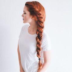 Lateral braid for long hair, red hair - Peinado trenzado lateral para pelo largo