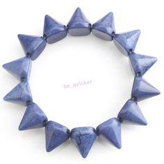 1x 260072 Turquoise Deep Blue Rivet Studs Spike Elastic Stretch Bracelet Bangle