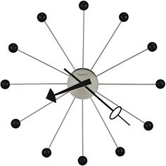 """Howard Miller 42"""" Wide Retro Ball II Wall Clock (£220) ❤ liked on Polyvore featuring home, home decor, clocks, interior design, backgrounds, black, hand clock, ball wall clock, ball clock and howard miller wall clock"""