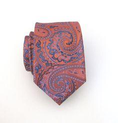 Necktie Orange and Teal Blue Paisley Mens Tie Moroccan Fabric, Am I Dreaming, Wedding Ties, Teal Blue, Groomsmen, Hand Sewing, Paisley, Orange, Real Men