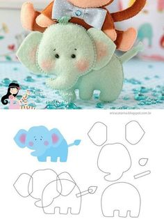 Elephant (with instructions) ・ ☆ ・ .- Elefant 🎀 (mit Anleitung)・☆・ Elephant 🎀 (with instructions) ・ ☆ ・ - Baby Crafts, Felt Crafts, Fabric Crafts, Sewing Crafts, Sewing Projects, Felt Patterns, Craft Patterns, Felt Fabric, Fabric Dolls
