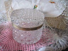 Crystal Round  Box Jewelry Trinket  Pretty by Daysgonebytreasures, $28.00